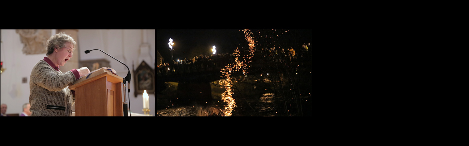 The Clock in Commune, video still triptych, woman singing and torches being thrown in river